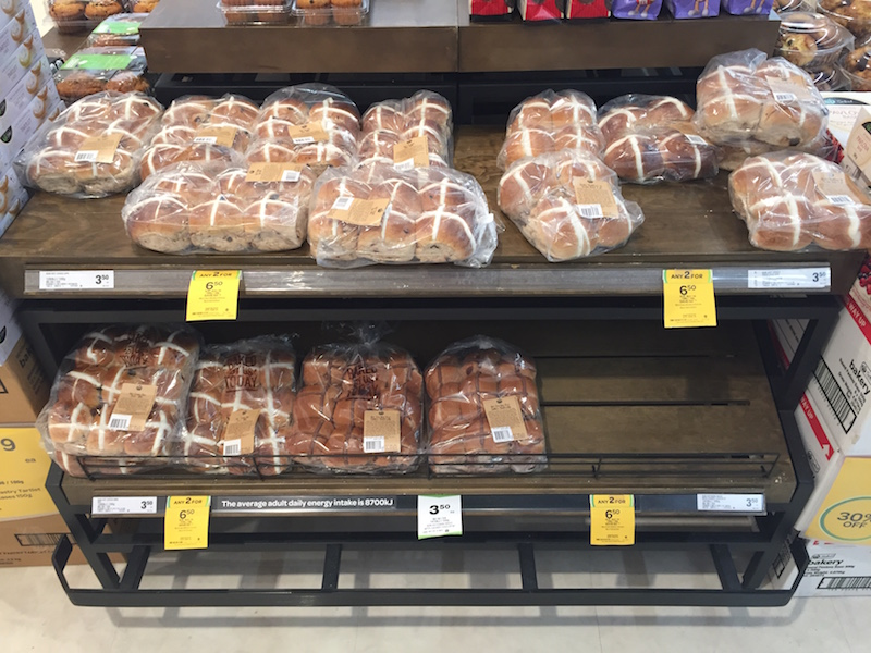 Hot cross buns on display at my local supermarket - January 3rd